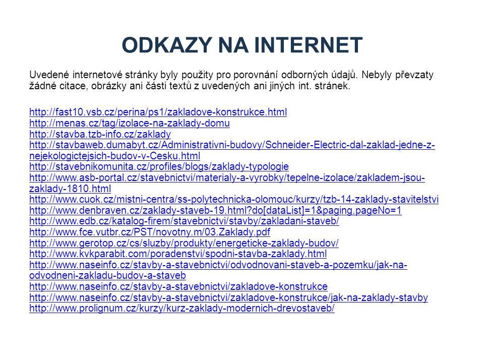 Uvedené internetové stránky byly použity pro porovnání odborných údajů. Nebyly převzaty žádné citace, obrázky ani části textů z uvedených ani jiných i