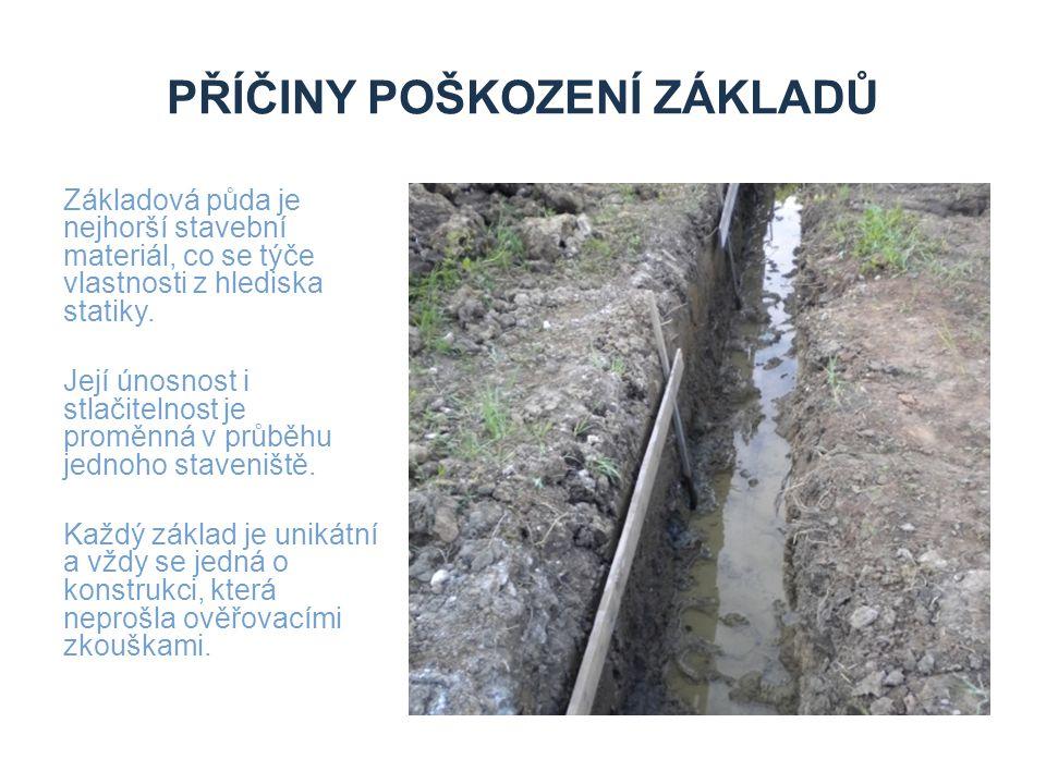 PŘÍČINY POŠKOZENÍ ZÁKLADŮ Základová půda je nejhorší stavební materiál, co se týče vlastnosti z hlediska statiky. Její únosnost i stlačitelnost je pro