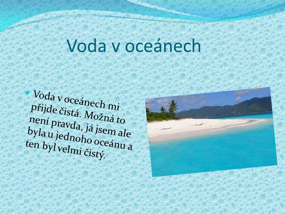 Voda v oceánech Voda v oceánech mi přijde čistá. Možná to není pravda, já jsem ale byla u jednoho oceánu a ten byl velmi čistý.