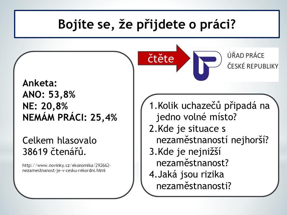 Anketa: ANO: 53,8% NE: 20,8% NEMÁM PRÁCI: 25,4% Celkem hlasovalo 38619 čtenářů. http://www.novinky.cz/ekonomika/292662- nezamestnanost-je-v-cesku-reko