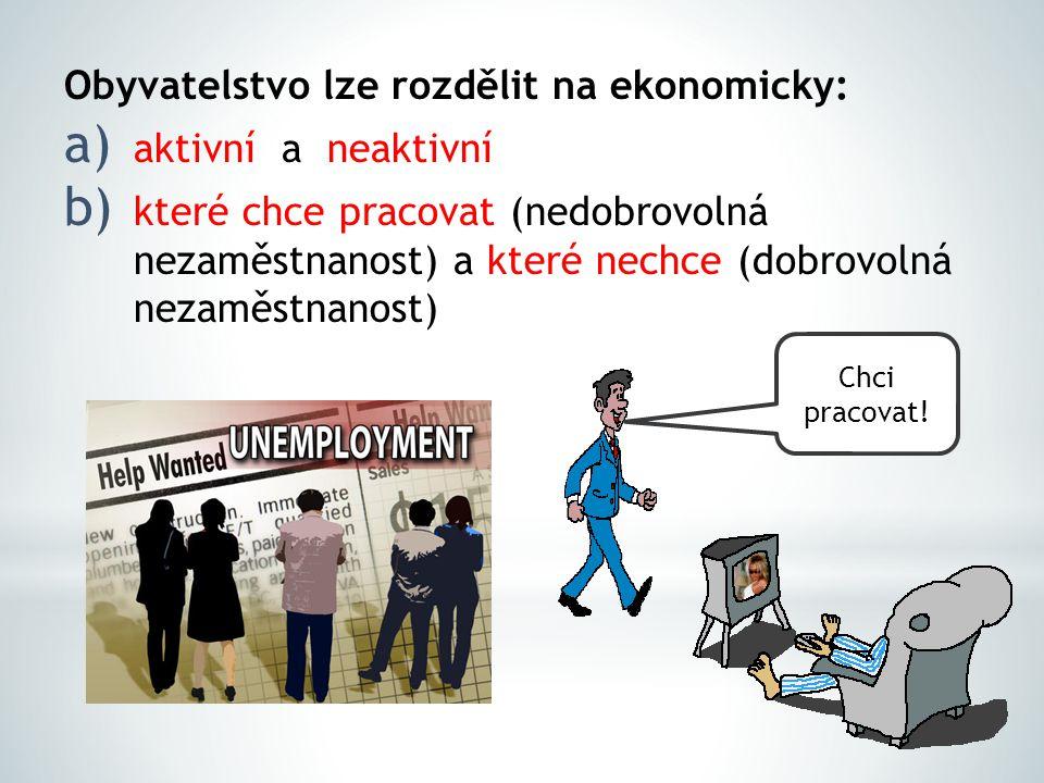 Obyvatelstvo lze rozdělit na ekonomicky: a) aktivní a neaktivní b) které chce pracovat (nedobrovolná nezaměstnanost) a které nechce (dobrovolná nezamě
