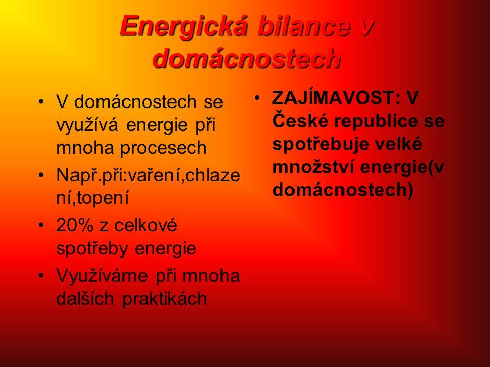Energická bilance v domácnostech V domácnostech se využívá energie při mnoha procesech Např.při:vaření,chlaze ní,topení 20% z celkové spotřeby energie