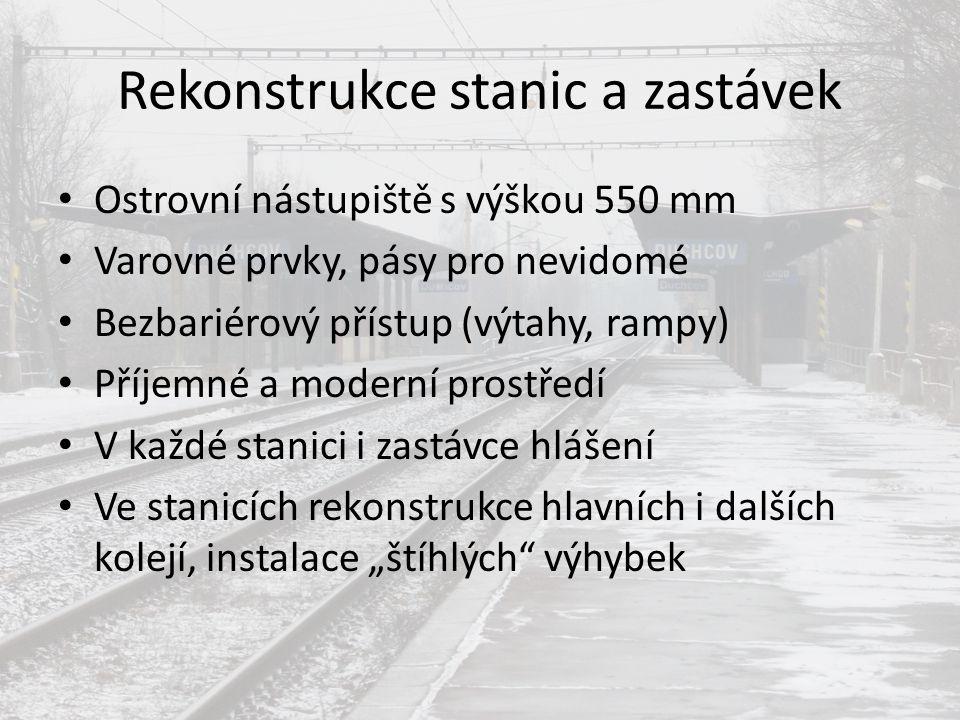 Rekonstrukce stanic a zastávek Ostrovní nástupiště s výškou 550 mm Varovné prvky, pásy pro nevidomé Bezbariérový přístup (výtahy, rampy) Příjemné a mo