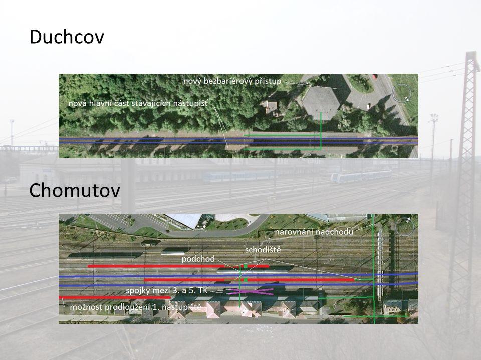 """Ostatní rekonstrukce """"Štíhlé výhybky i v odbočkách Celková modernizace mezistaničních úseků, možné zvýšení traťové rychlosti Omlazení trakčního vedení V budoucnu napájecí soustava 25 kV~ 50 Hz Nový přejezd v zast."""