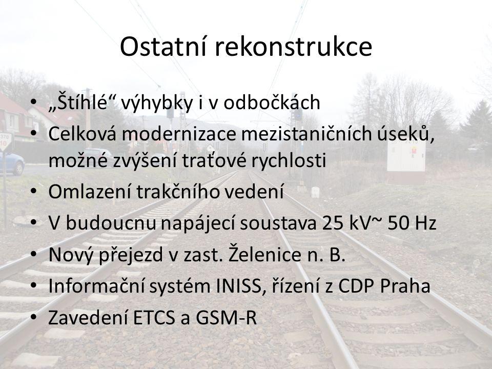 """Ostatní rekonstrukce """"Štíhlé"""" výhybky i v odbočkách Celková modernizace mezistaničních úseků, možné zvýšení traťové rychlosti Omlazení trakčního veden"""