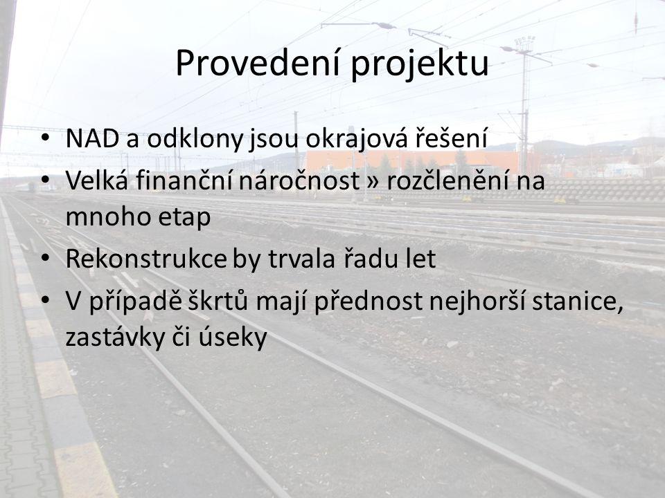 Provedení projektu NAD a odklony jsou okrajová řešení Velká finanční náročnost » rozčlenění na mnoho etap Rekonstrukce by trvala řadu let V případě škrtů mají přednost nejhorší stanice, zastávky či úseky