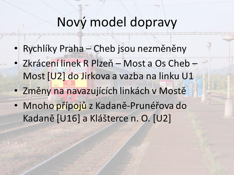 Nový model dopravy Rychlíky Praha – Cheb jsou nezměněny Zkrácení linek R Plzeň – Most a Os Cheb – Most [U2] do Jirkova a vazba na linku U1 Změny na na