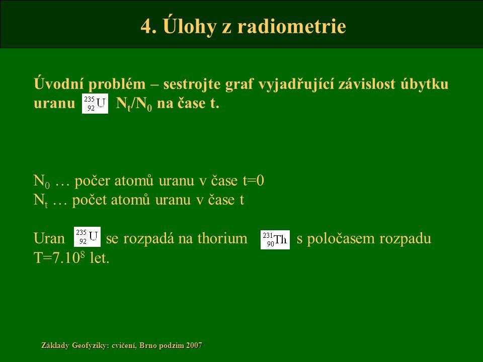 4. Úlohy z radiometrie Základy Geofyziky: cvičení, Brno podzim 2007 Úvodní problém – sestrojte graf vyjadřující závislost úbytku uranu N t /N 0 na čas