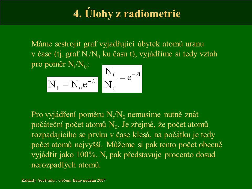 4. Úlohy z radiometrie Základy Geofyziky: cvičení, Brno podzim 2007 Máme sestrojit graf vyjadřující úbytek atomů uranu v čase (tj. graf N t /N 0 ku ča