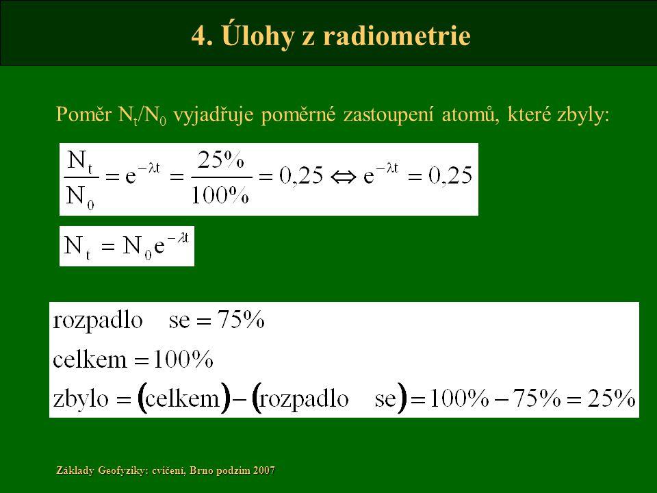 4. Úlohy z radiometrie Základy Geofyziky: cvičení, Brno podzim 2007 Poměr N t /N 0 vyjadřuje poměrné zastoupení atomů, které zbyly: