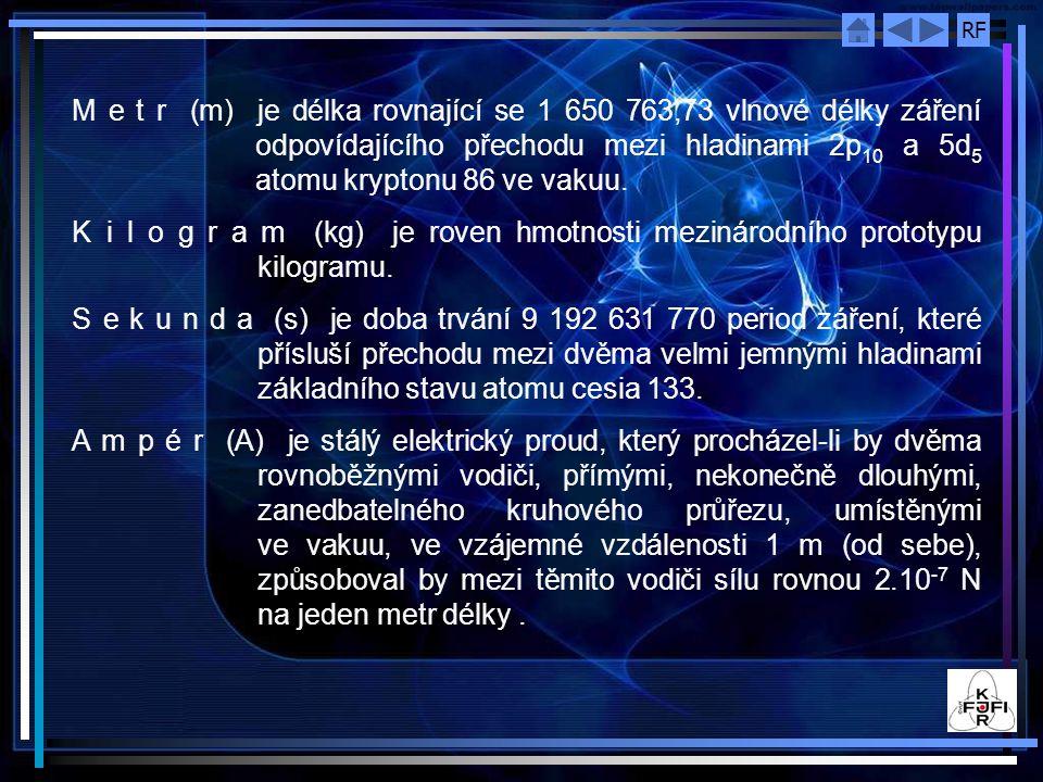 RF M e t r (m) je délka rovnající se 1 650 763,73 vlnové délky záření odpovídajícího přechodu mezi hladinami 2p 10 a 5d 5 atomu kryptonu 86 ve vakuu.