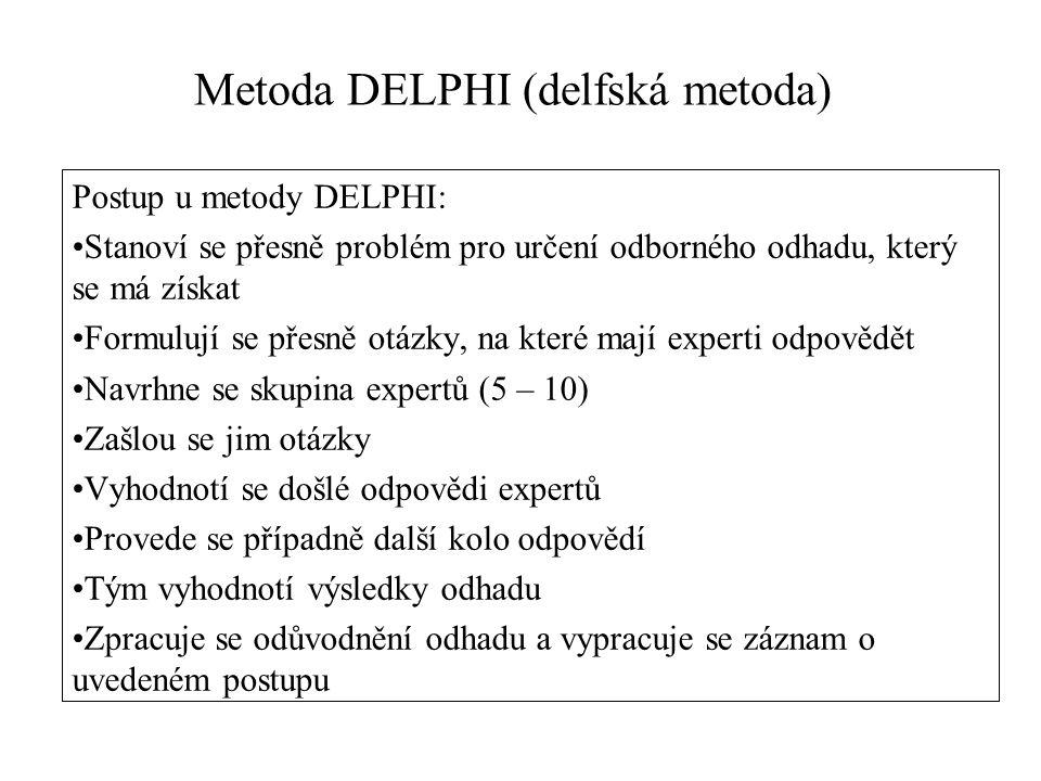 Postup u metody DELPHI: Stanoví se přesně problém pro určení odborného odhadu, který se má získat Formulují se přesně otázky, na které mají experti odpovědět Navrhne se skupina expertů (5 – 10) Zašlou se jim otázky Vyhodnotí se došlé odpovědi expertů Provede se případně další kolo odpovědí Tým vyhodnotí výsledky odhadu Zpracuje se odůvodnění odhadu a vypracuje se záznam o uvedeném postupu Metoda DELPHI (delfská metoda)
