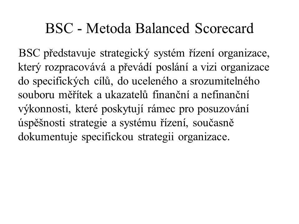 BSC - Metoda Balanced Scorecard BSC představuje strategický systém řízení organizace, který rozpracovává a převádí poslání a vizi organizace do specifických cílů, do uceleného a srozumitelného souboru měřítek a ukazatelů finanční a nefinanční výkonnosti, které poskytují rámec pro posuzování úspěšnosti strategie a systému řízení, současně dokumentuje specifickou strategii organizace.