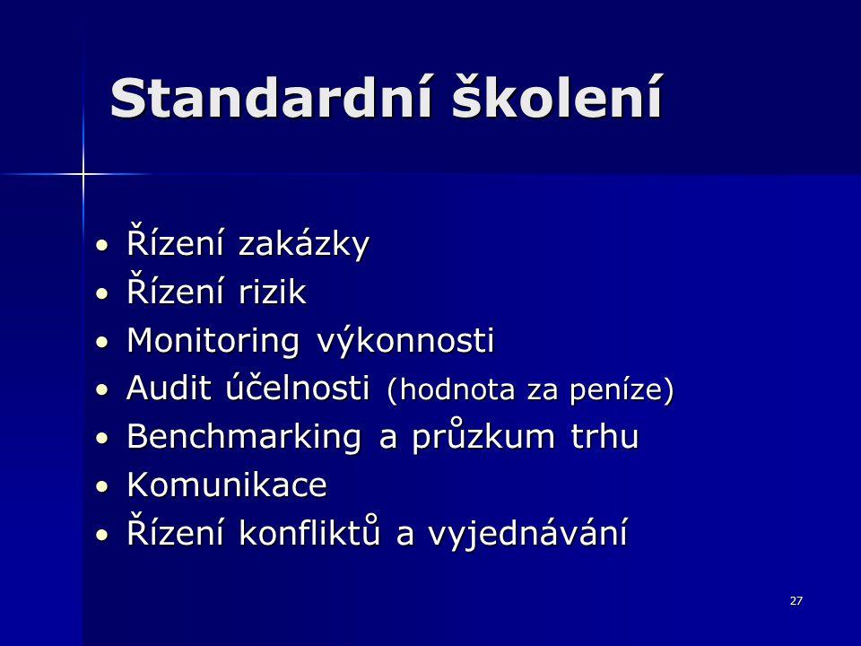 27 Standardní školení Řízení zakázky Řízení zakázky Řízení rizik Řízení rizik Monitoring výkonnosti Monitoring výkonnosti Audit účelnosti (hodnota za peníze) Audit účelnosti (hodnota za peníze) Benchmarking a průzkum trhu Benchmarking a průzkum trhu Komunikace Komunikace Řízení konfliktů a vyjednávání Řízení konfliktů a vyjednávání
