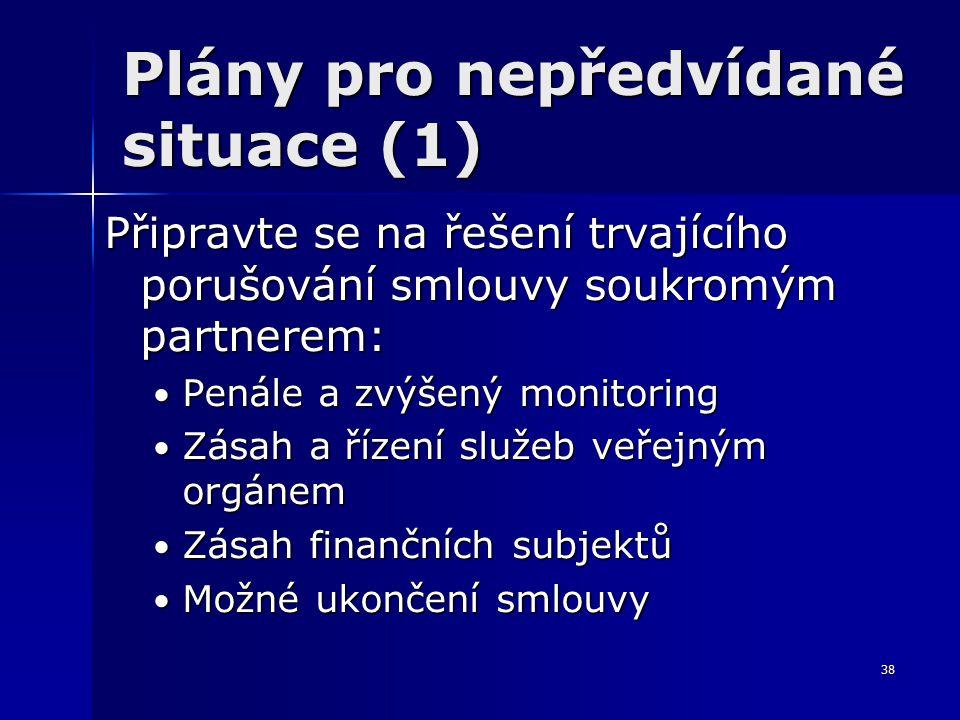 38 Plány pro nepředvídané situace (1) Připravte se na řešení trvajícího porušování smlouvy soukromým partnerem: Penále a zvýšený monitoring Penále a zvýšený monitoring Zásah a řízení služeb veřejným orgánem Zásah a řízení služeb veřejným orgánem Zásah finančních subjektů Zásah finančních subjektů Možné ukončení smlouvy Možné ukončení smlouvy