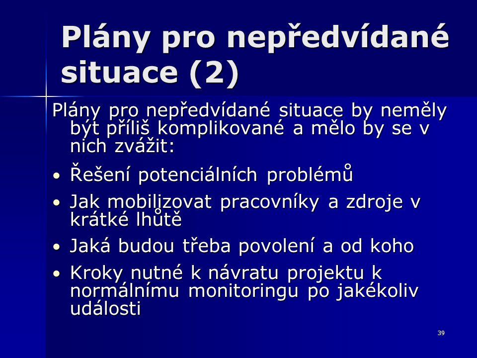 39 Plány pro nepředvídané situace (2) Plány pro nepředvídané situace by neměly být příliš komplikované a mělo by se v nich zvážit: Řešení potenciálních problémů Řešení potenciálních problémů Jak mobilizovat pracovníky a zdroje v krátké lhůtě Jak mobilizovat pracovníky a zdroje v krátké lhůtě Jaká budou třeba povolení a od koho Jaká budou třeba povolení a od koho Kroky nutné k návratu projektu k normálnímu monitoringu po jakékoliv události Kroky nutné k návratu projektu k normálnímu monitoringu po jakékoliv události