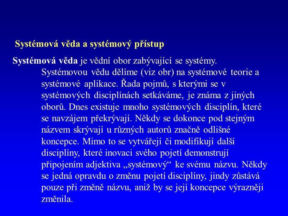 Systémová věda a systémový přístup Systémová věda je vědní obor zabývající se systémy.