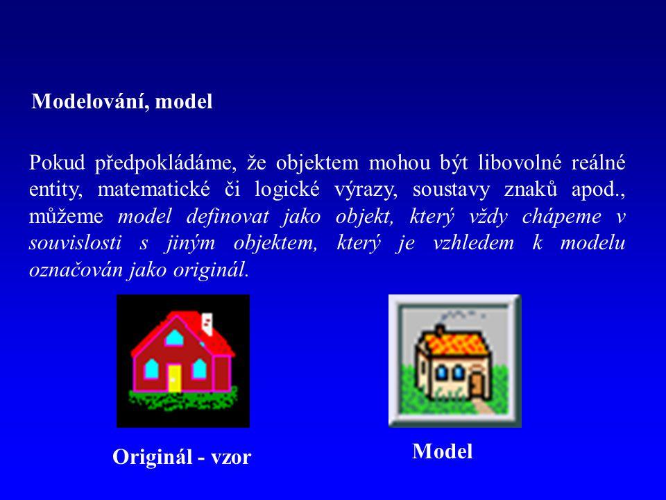 Modelování, model Originál - vzor Model Pokud předpokládáme, že objektem mohou být libovolné reálné entity, matematické či logické výrazy, soustavy znaků apod., můžeme model definovat jako objekt, který vždy chápeme v souvislosti s jiným objektem, který je vzhledem k modelu označován jako originál.