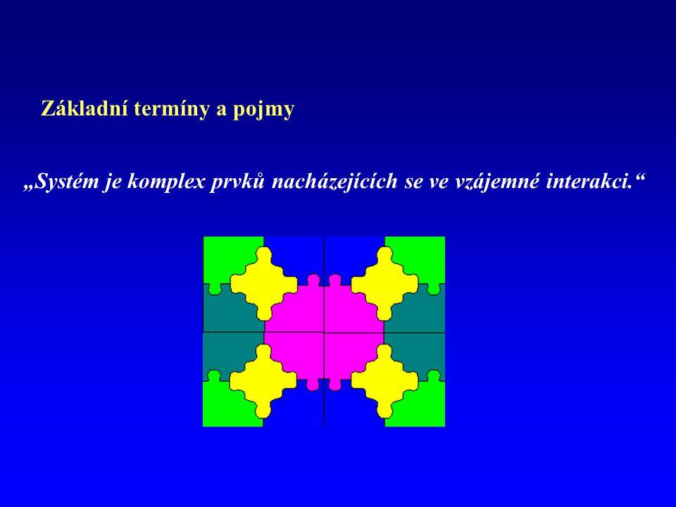 """Základní termíny a pojmy """"Systém je komplex prvků nacházejících se ve vzájemné interakci."""