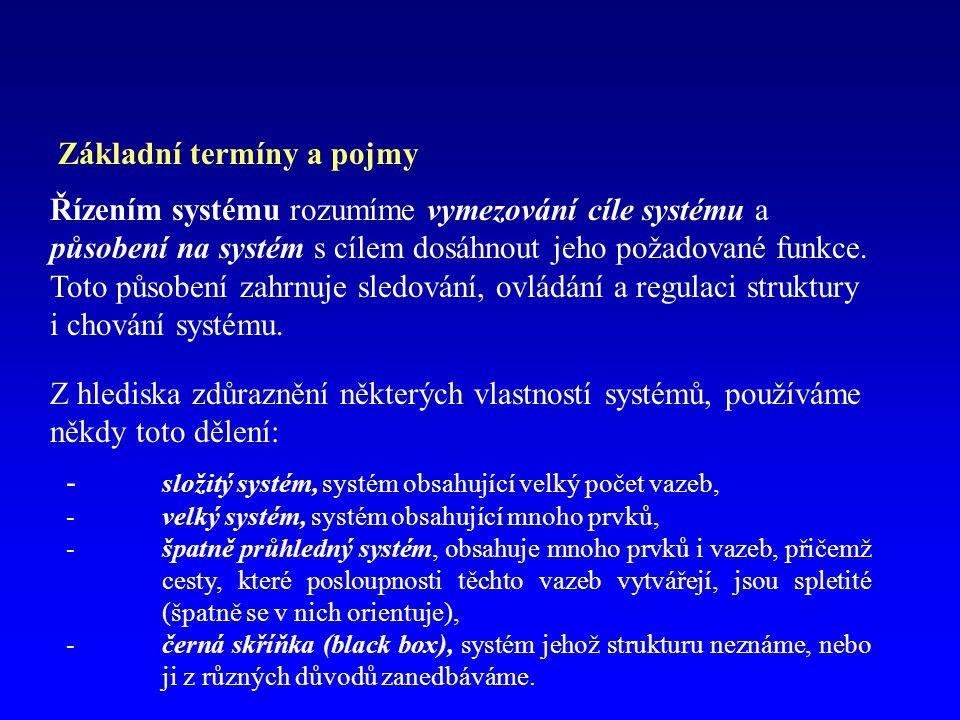 Základní termíny a pojmy Řízením systému rozumíme vymezování cíle systému a působení na systém s cílem dosáhnout jeho požadované funkce.