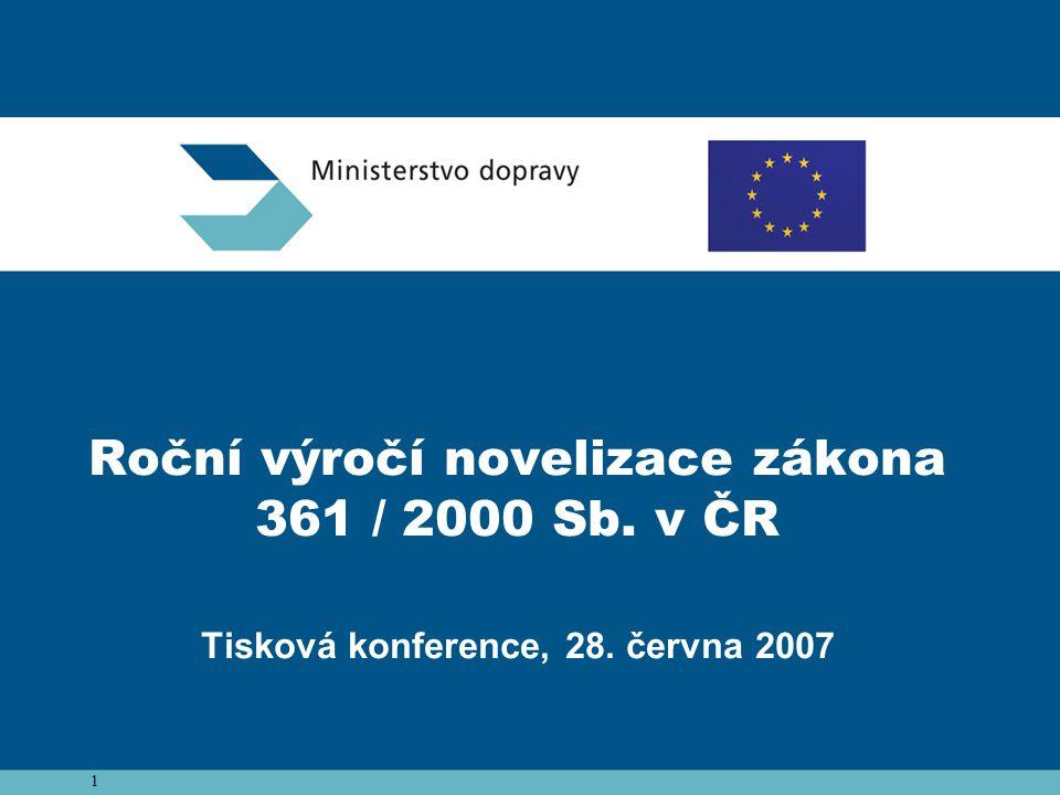 1 Roční výročí novelizace zákona 361 / 2000 Sb. v ČR Tisková konference, 28. června 2007