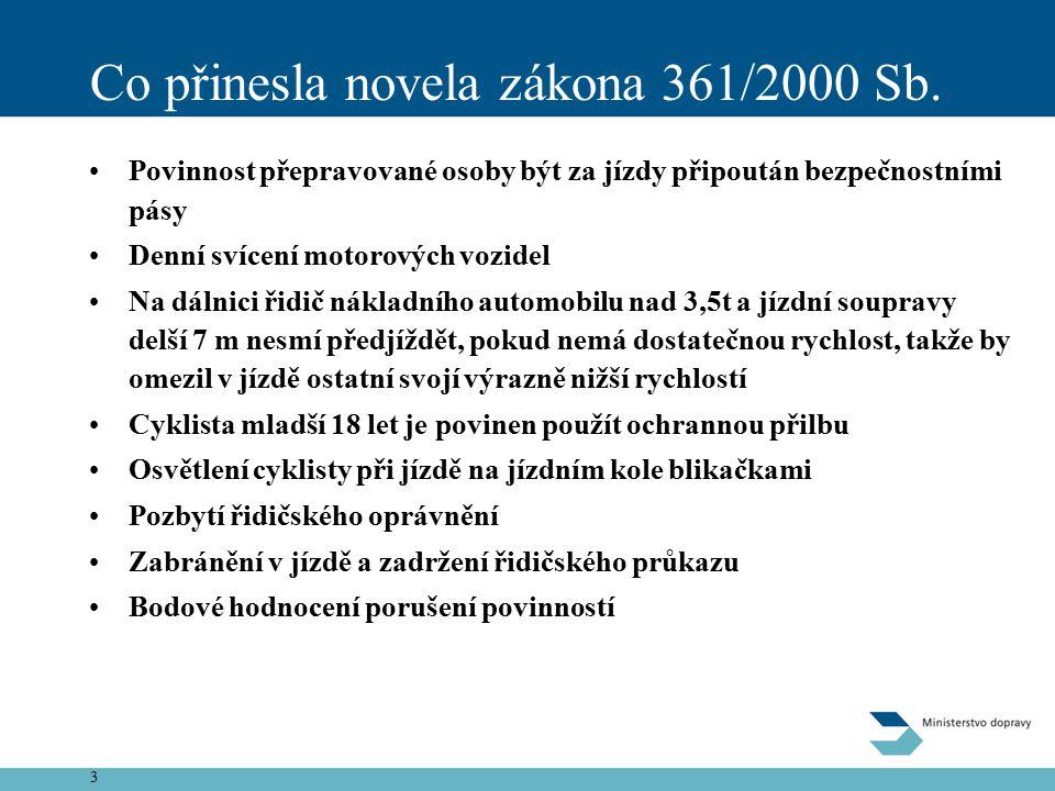 3 Co přinesla novela zákona 361/2000 Sb.