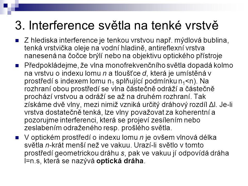 3. Interference světla na tenké vrstvě Z hlediska interference je tenkou vrstvou např. mýdlová bublina, tenká vrstvička oleje na vodní hladině, antire