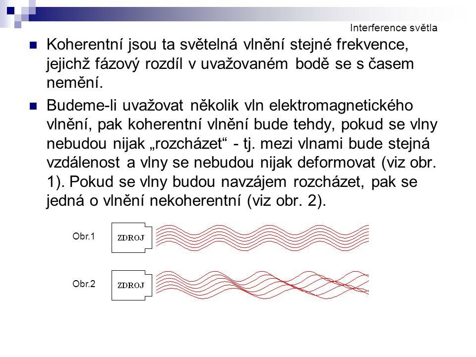 Koherentní jsou ta světelná vlnění stejné frekvence, jejichž fázový rozdíl v uvažovaném bodě se s časem nemění. Budeme-li uvažovat několik vln elektro