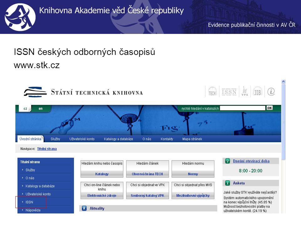 ISSN českých odborných časopisů www.stk.cz