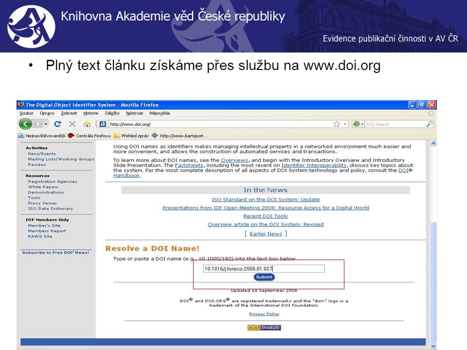 Plný text článku získáme přes službu na www.doi.org