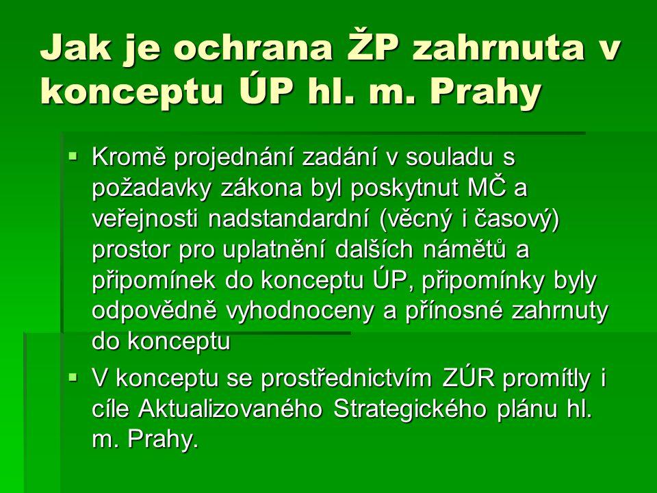 Jak je ochrana ŽP zahrnuta v konceptu ÚP hl. m.