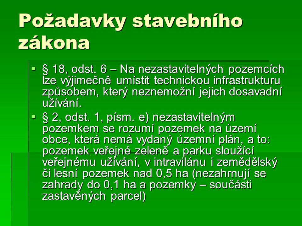 Požadavky stavebního zákona  § 19, odst.