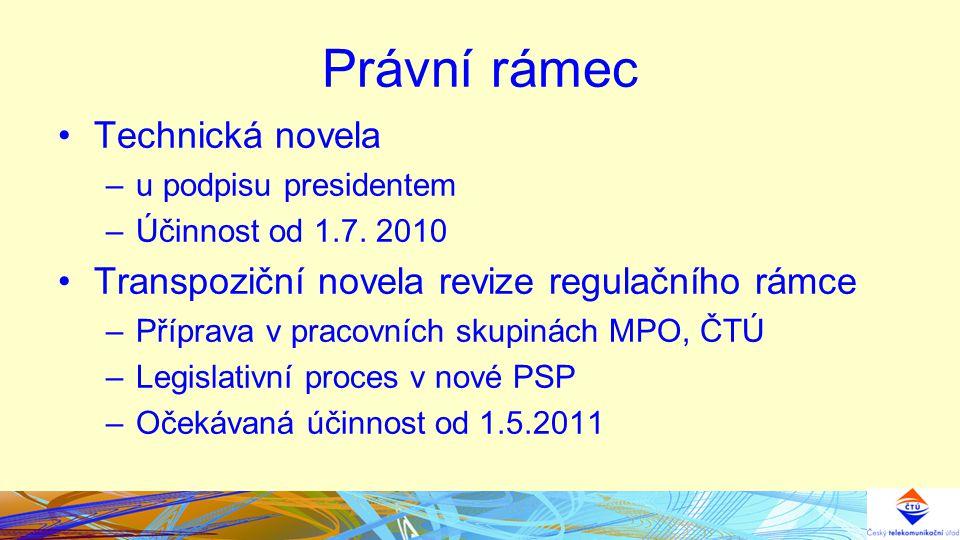 Právní rámec Technická novela –u podpisu presidentem –Účinnost od 1.7.