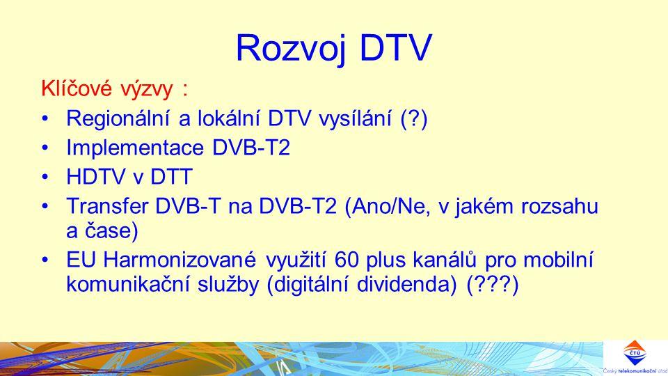 Rozvoj DTV Klíčové výzvy : Regionální a lokální DTV vysílání ( ) Implementace DVB-T2 HDTV v DTT Transfer DVB-T na DVB-T2 (Ano/Ne, v jakém rozsahu a čase) EU Harmonizované využití 60 plus kanálů pro mobilní komunikační služby (digitální dividenda) ( )