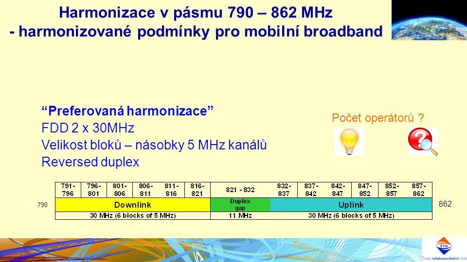Harmonizace v pásmu 790 – 862 MHz - harmonizované podmínky pro mobilní broadband Preferovaná harmonizace FDD 2 x 30MHz Velikost bloků – násobky 5 MHz kanálů Reversed duplex 862 790 Počet operátorů