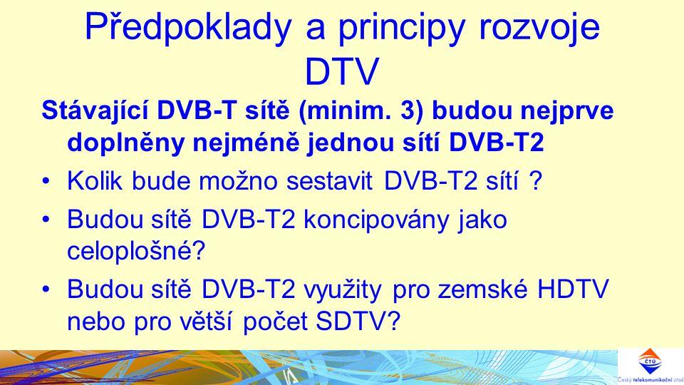 Předpoklady a principy rozvoje DTV Stávající DVB-T sítě (minim.