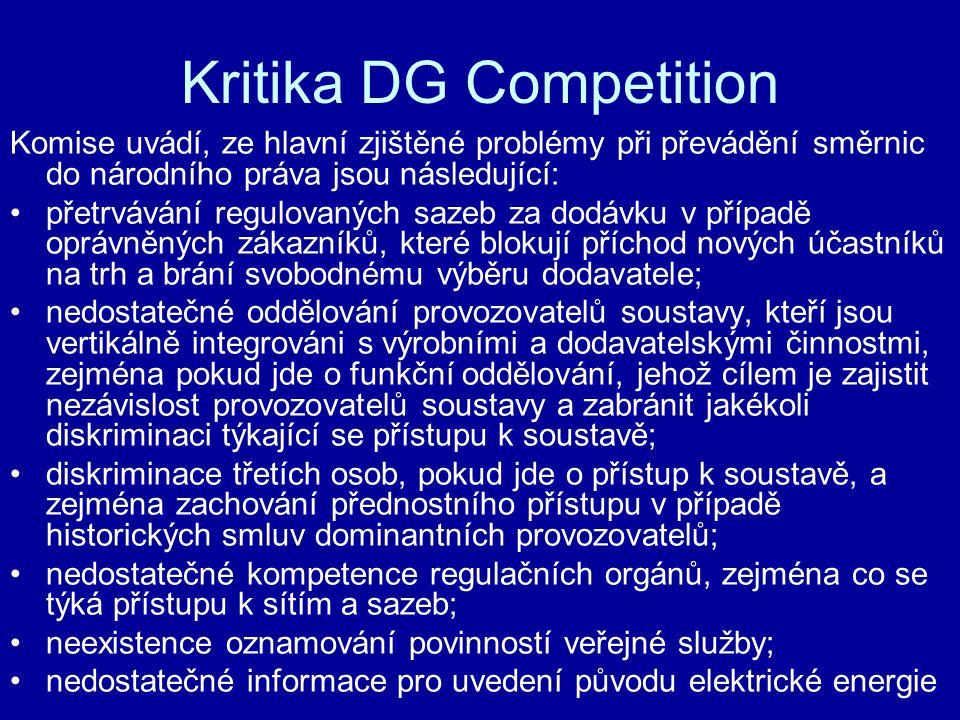 Kritika DG Competition Komise uvádí, ze hlavní zjištěné problémy při převádění směrnic do národního práva jsou následující: přetrvávání regulovaných s