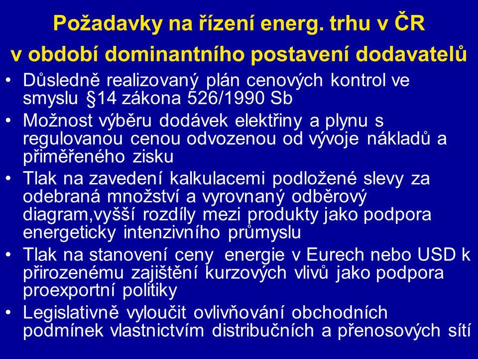 Požadavky na řízení energ. trhu v ČR v období dominantního postavení dodavatelů Důsledně realizovaný plán cenových kontrol ve smyslu §14 zákona 526/19