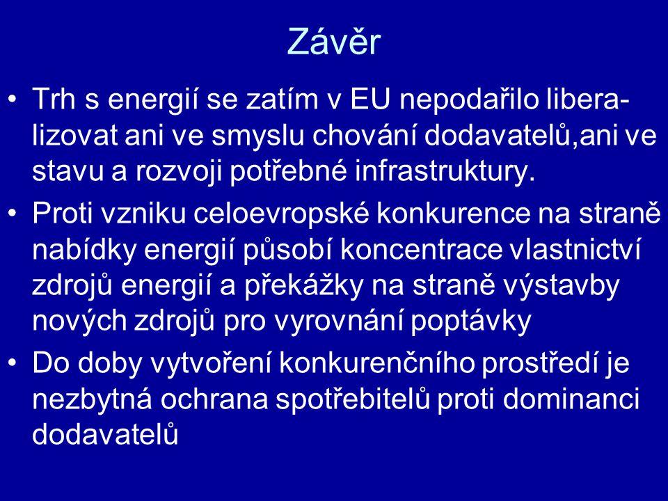 Závěr Trh s energií se zatím v EU nepodařilo libera- lizovat ani ve smyslu chování dodavatelů,ani ve stavu a rozvoji potřebné infrastruktury. Proti vz