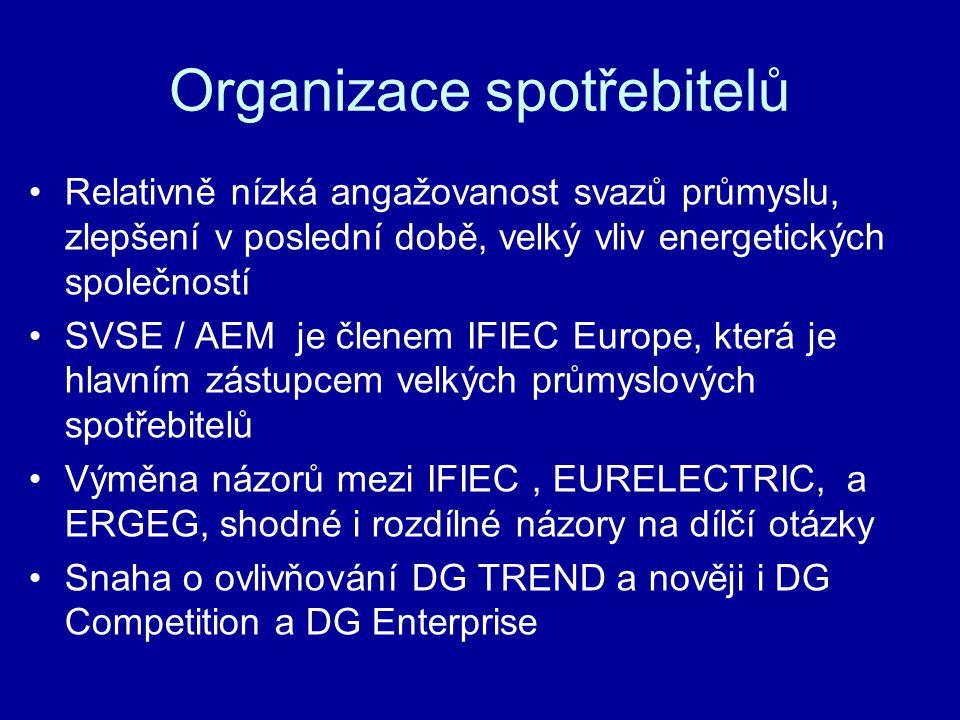 Organizace spotřebitelů Relativně nízká angažovanost svazů průmyslu, zlepšení v poslední době, velký vliv energetických společností SVSE / AEM je členem IFIEC Europe, která je hlavním zástupcem velkých průmyslových spotřebitelů Výměna názorů mezi IFIEC, EURELECTRIC, a ERGEG, shodné i rozdílné názory na dílčí otázky Snaha o ovlivňování DG TREND a nověji i DG Competition a DG Enterprise