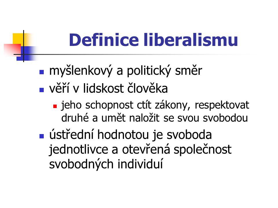 Definice liberalismu myšlenkový a politický směr věří v lidskost člověka jeho schopnost ctít zákony, respektovat druhé a umět naložit se svou svobodou