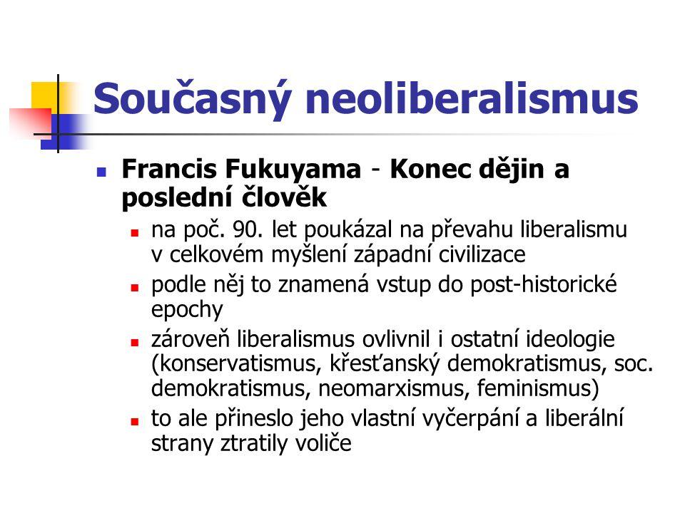 Současný neoliberalismus Francis Fukuyama - Konec dějin a poslední člověk na poč. 90. let poukázal na převahu liberalismu v celkovém myšlení západní c
