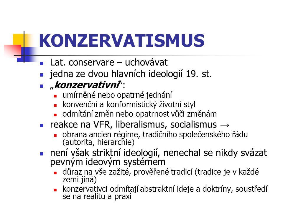 """KONZERVATISMUS Lat. conservare – uchovávat jedna ze dvou hlavních ideologií 19. st. """"konzervativní"""": umírněné nebo opatrné jednání konvenční a konform"""