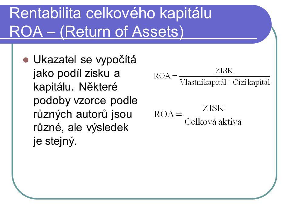 Rentabilita celkového kapitálu ROA – (Return of Assets) Ukazatel se vypočítá jako podíl zisku a kapitálu. Některé podoby vzorce podle různých autorů j