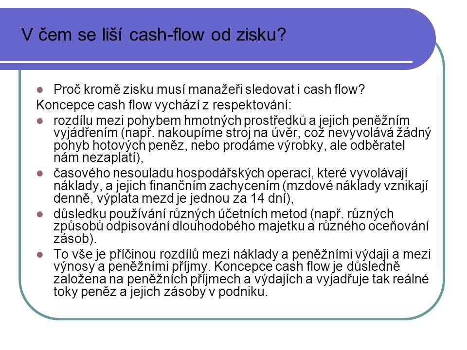 Proč kromě zisku musí manažeři sledovat i cash flow? Koncepce cash flow vychází z respektování: rozdílu mezi pohybem hmotných prostředků a jejich peně