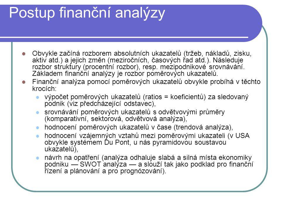Postup finanční analýzy Obvykle začíná rozborem absolutních ukazatelů (tržeb, nákladů, zisku, aktiv atd.) a jejich změn (meziročních, časových řad atd