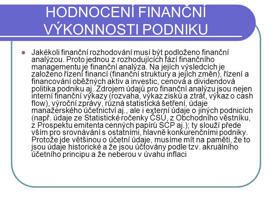 HODNOCENÍ FINANČNÍ VÝKONNOSTI PODNIKU Jakékoli finanční rozhodování musí být podloženo finanční analýzou. Proto jednou z rozhodujících fází finančního