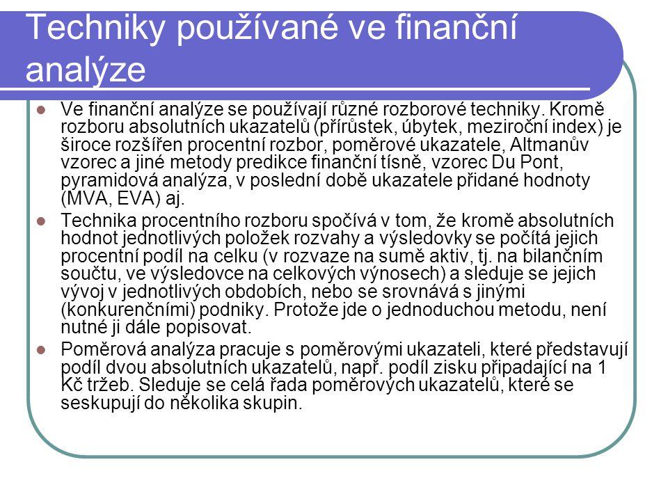 Techniky používané ve finanční analýze Ve finanční analýze se používají různé rozborové techniky. Kromě rozboru absolutních ukazatelů (přírůstek, úbyt