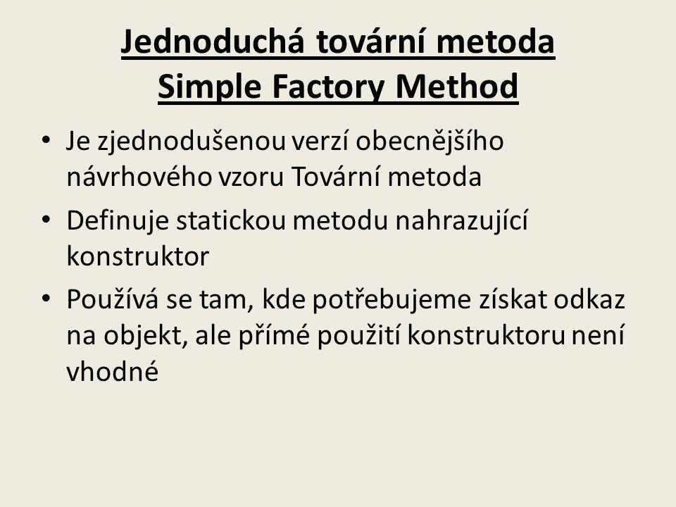 Jednoduchá tovární metoda Simple Factory Method Je zjednodušenou verzí obecnějšího návrhového vzoru Tovární metoda Definuje statickou metodu nahrazující konstruktor Používá se tam, kde potřebujeme získat odkaz na objekt, ale přímé použití konstruktoru není vhodné