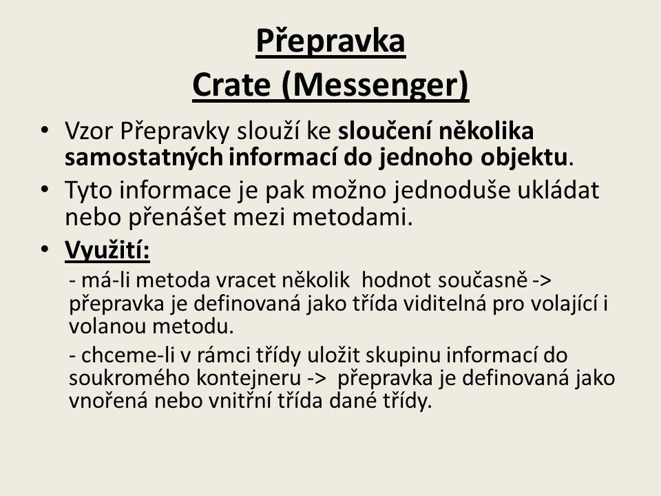 Přepravka Crate (Messenger) Vzor Přepravky slouží ke sloučení několika samostatných informací do jednoho objektu. Tyto informace je pak možno jednoduš